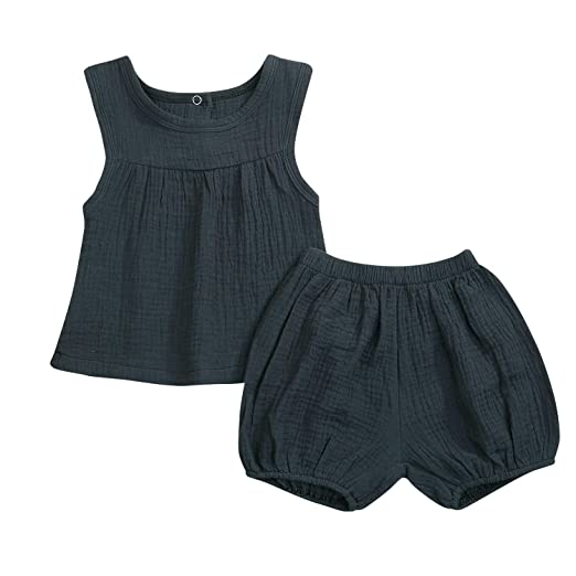 6c493f8b8b28c WISWELL Baby Girls Boys Cotton Linen Short Sets Tank Tops + Bloomers Summer  Outfits (Green