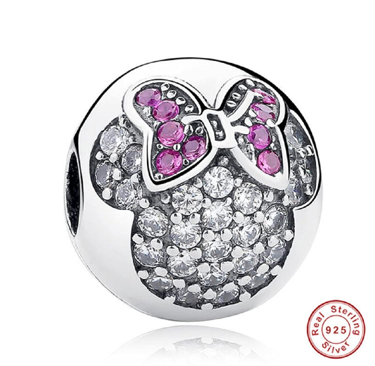 Amazon.com: Dijes Sweet Cute Lovely Mickey Minnie Pave Clip Charm Dijes Para Pulseras Pulseira De Plata: Jewelry