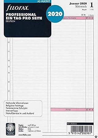 Filofax - Recambio para agenda (A5, 1 día en 1 página, en ...