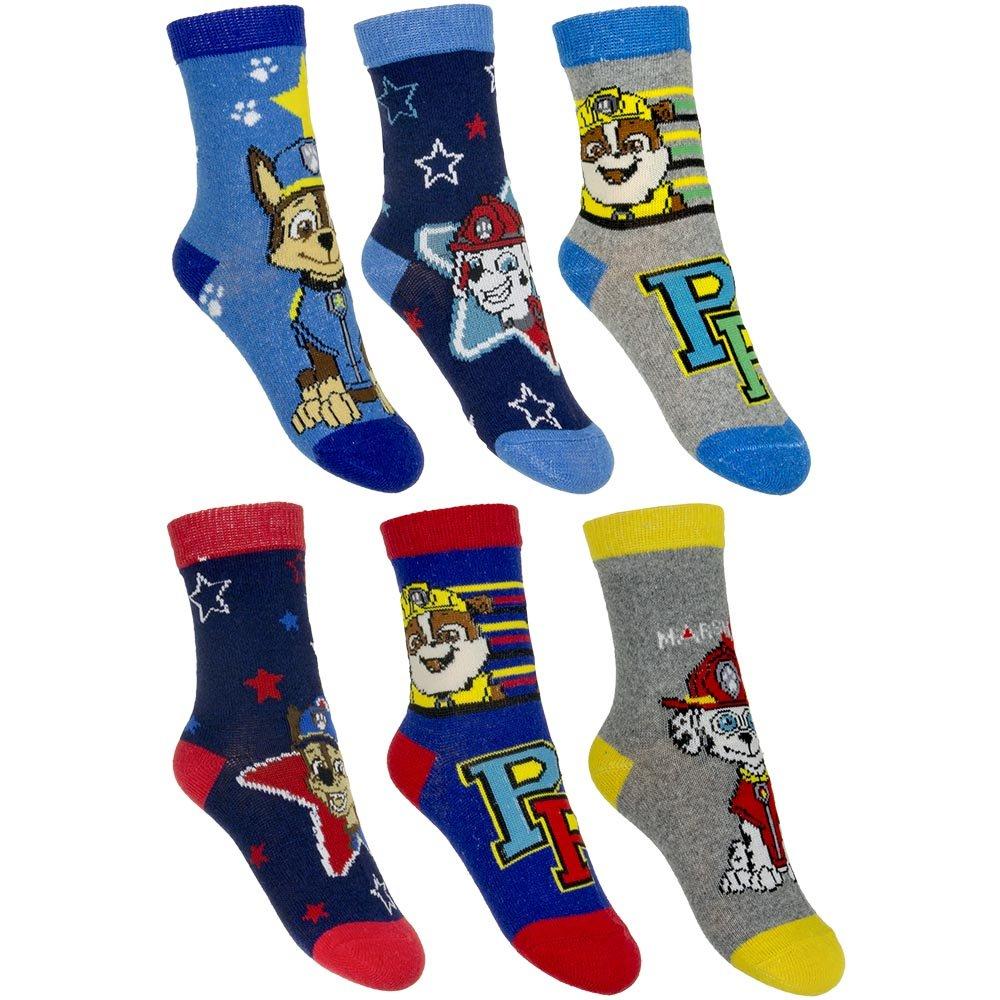 6Pack Boys Socks Super Mario Paw Patrol Sonic