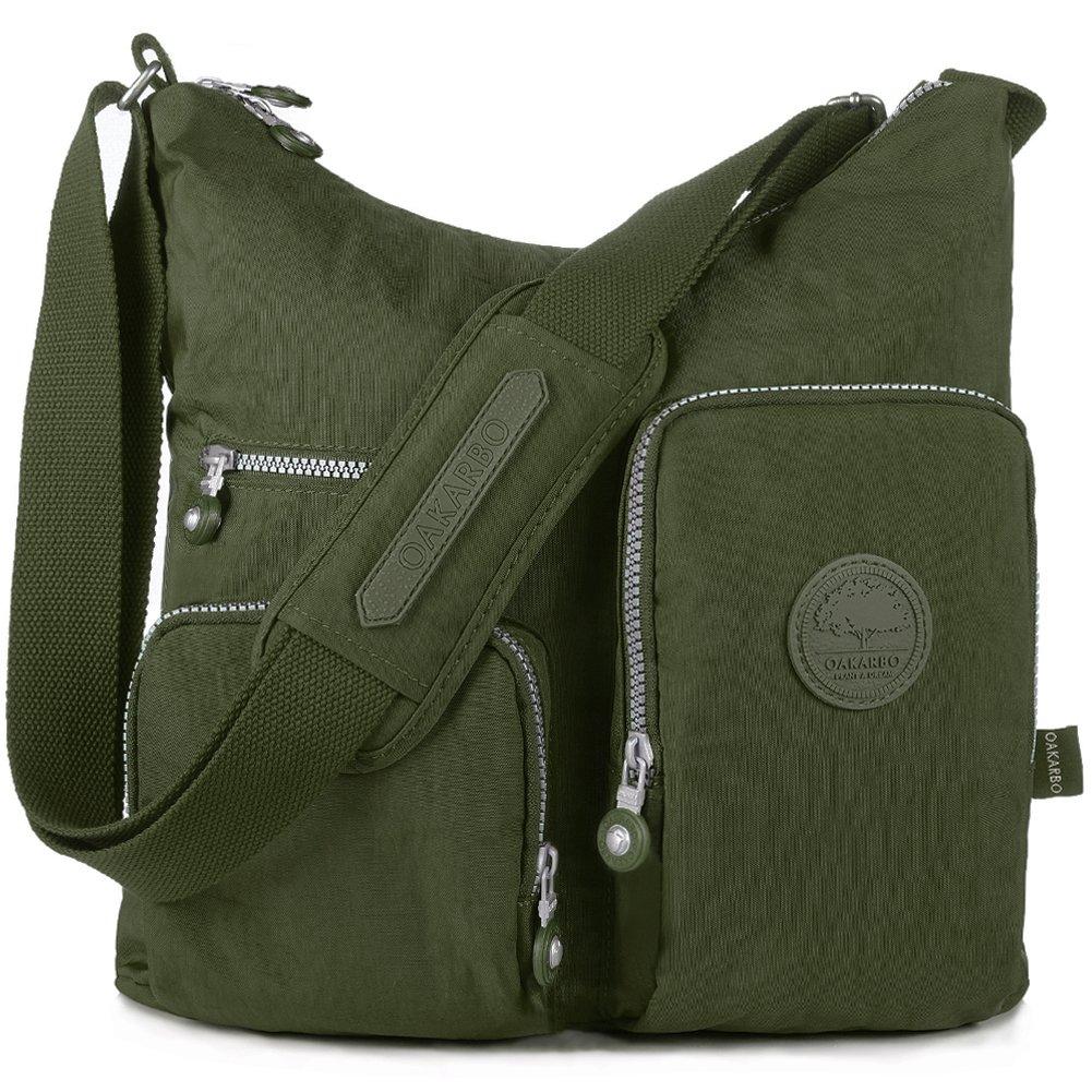 Oakarbo Crossbody Bag Nylon Multi-Pocket Travel Shoulder Bag (1204 Army green, Large)