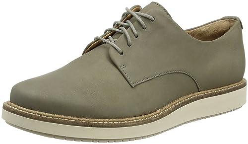 Glick Darby, Zapatos de Cordones Derby para Mujer, Gris (Sage Nubuck), 40 EU Clarks