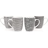 Sabichi Geo Dibujo 4 Piezas Taza Juego Porcelana