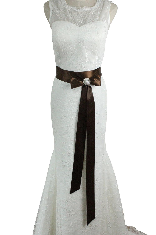 Cinturón de adorno hecho a mano de Lemandy, con cristales para vestido de novia o boda A7 Marrón chocolate Talla única: Amazon.es: Ropa y accesorios