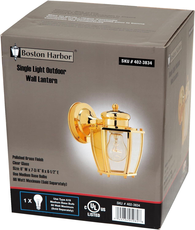 Boston Harbor HV-66961-PB 1-Light Wall Lantern Polished Brass