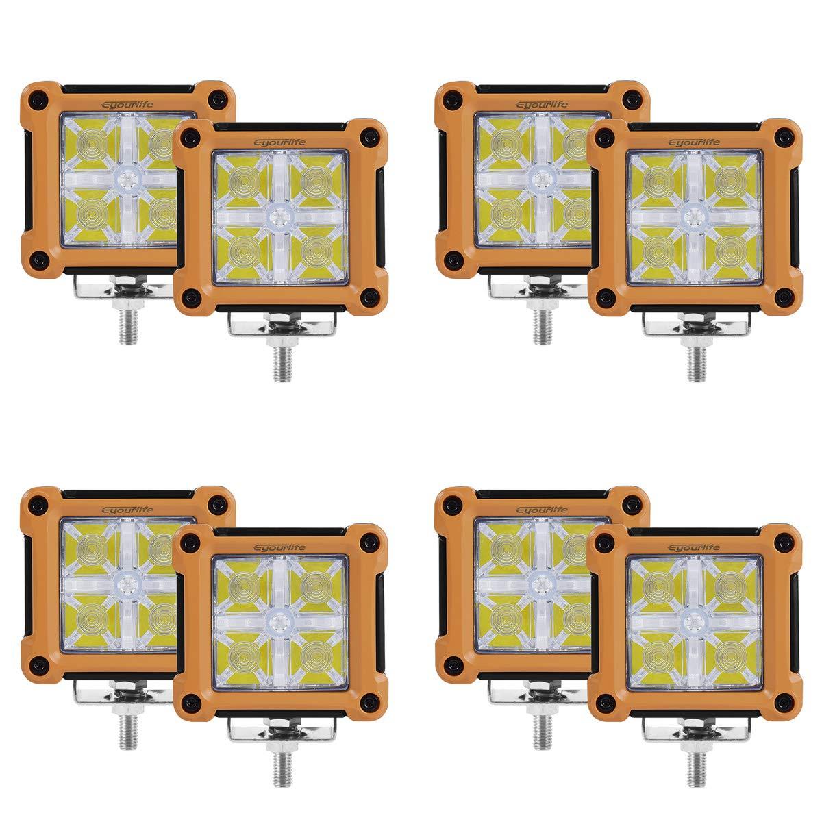 Blue Light Eyourlife Day Time running Lights 3.2 inch 20W Led Work Light Backlight Philips High Penetration Led Bulb Pair Colorful Spotlight Fog Light Off Road SUV Driving Headlight Pods 4Pcs