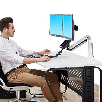 North Bayou Sit Stand Desk Converter Height Adjustable Standing Desk Workstation