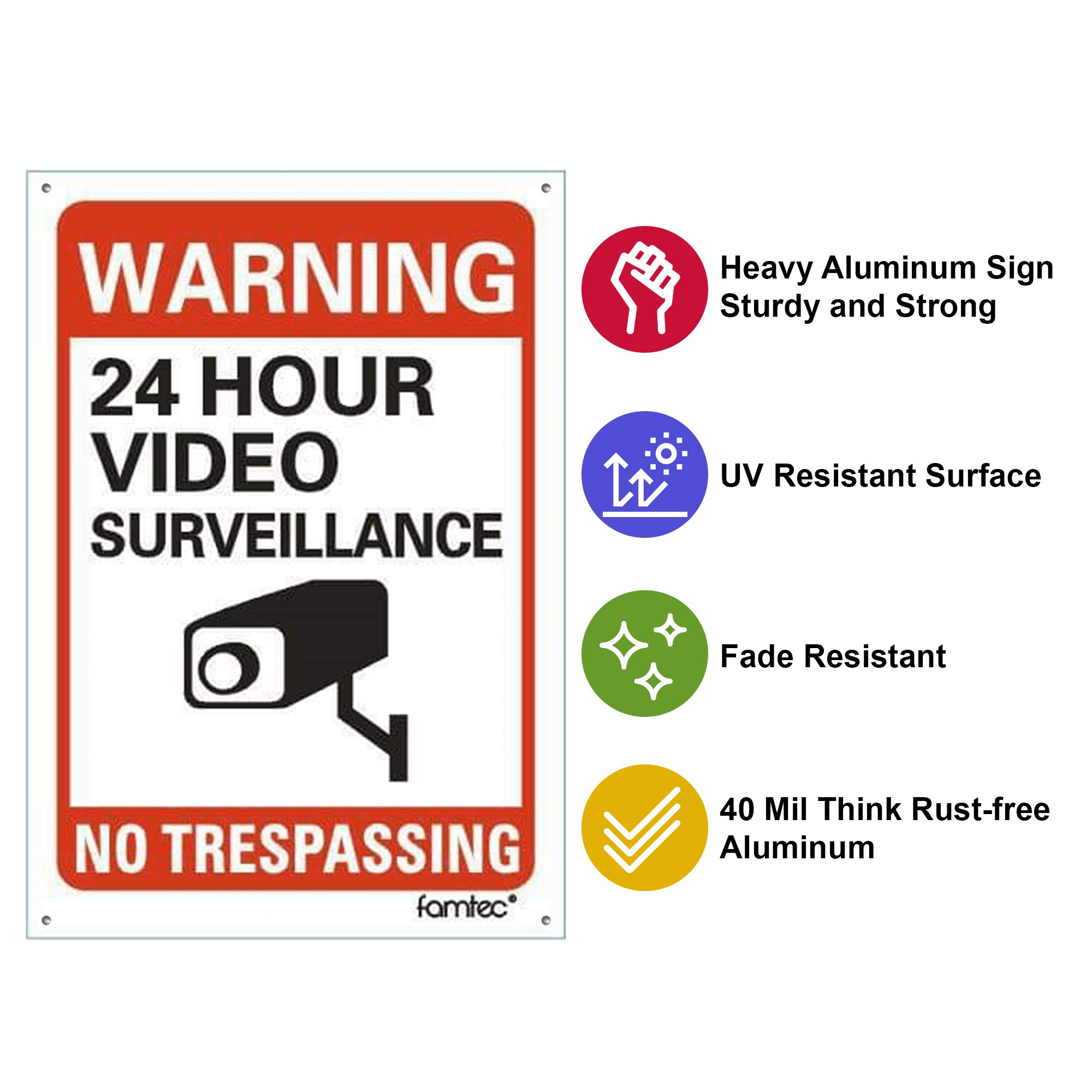 Famtec Video Surveillance Sign Outdoor Warning Sign | 7''x 10'' Aluminum | Indoor Outdoor | Home Business CCTV Security Camera | Waterproof UV Protected | Red | 7x10, Red | Reflective | 4 Pack by Famtec (Image #2)