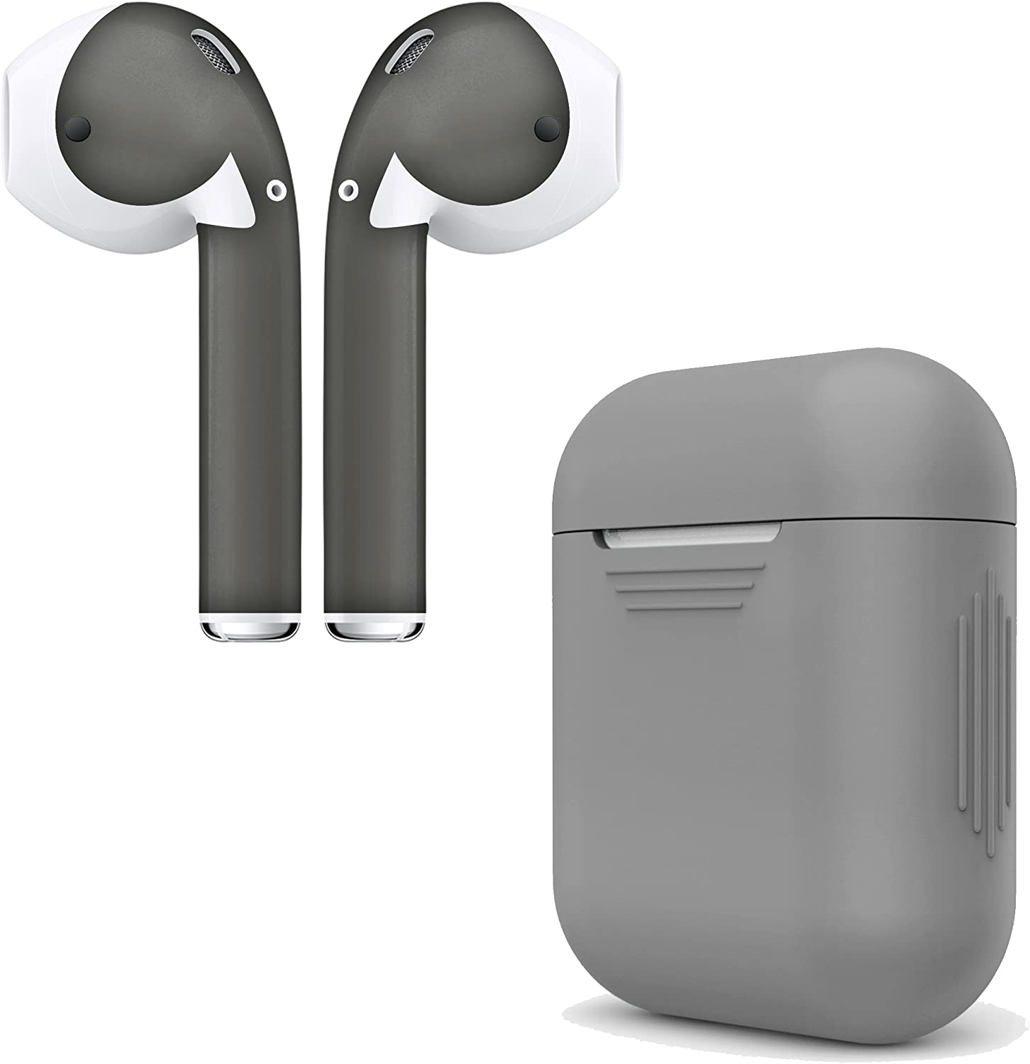 AirPod Skins & Charging Case Cover – Protective Silicone Cover and Stylish Wraps Bundle Compatible with Apple AirPods (Grey Case & Space Grey Skin)