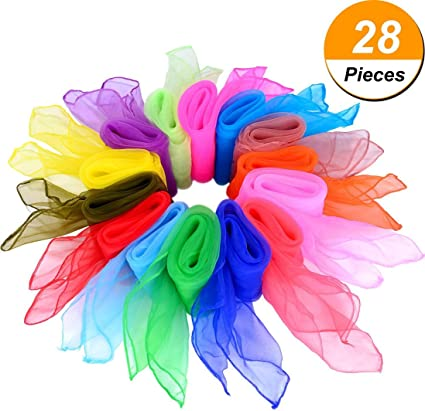 Assorted Color 12pcs 60*60cm Hemmed Square Juggling Dance Scarves