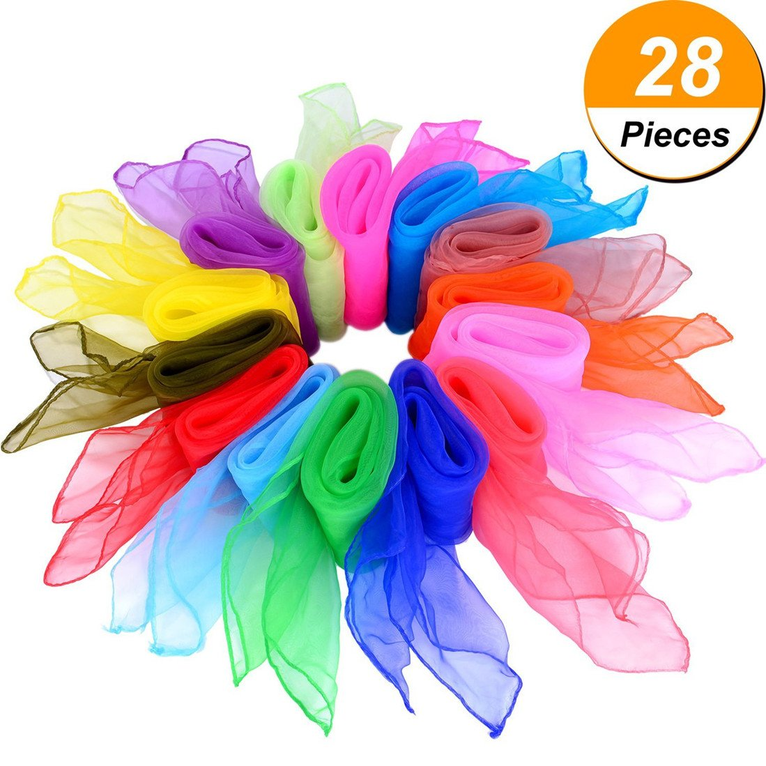 ALIKSO Dance Scarves 28pcs Rhythm Scarves Square Dance Scarf Juggling Scarf Magic Scarves for Kids 24 by 24 Inches 14 Colors (28pcs 14 Colors)