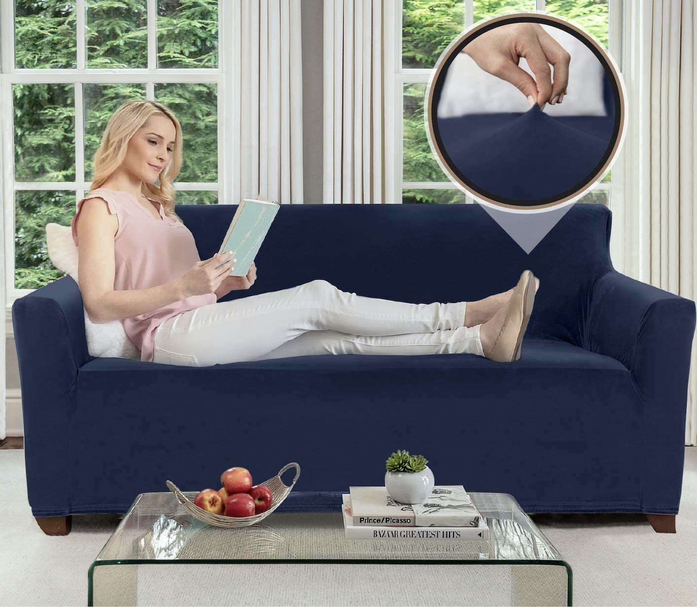 Gorilla Grip Original Velvet Fitted 1 Piece Small Sofa Slipcover, Stretch Up to 62 Inches, Soft Velvety Covers, Luxurious Slip Cover, Spandex Sofa Furniture Protector, with Fasteners, Navy Blue