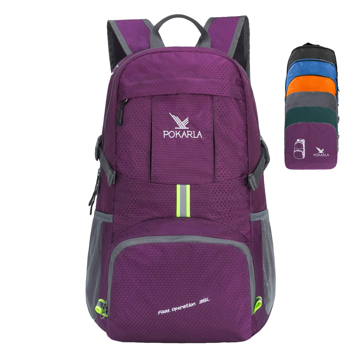 POKARLA 35L Foldable Durable Backpack Travel Hiking Daypack Ultra Lightweight Packable Carry On Bag Unisex Outdoor Sports with USB Cable/Water Tube Hole Upgraded Purple