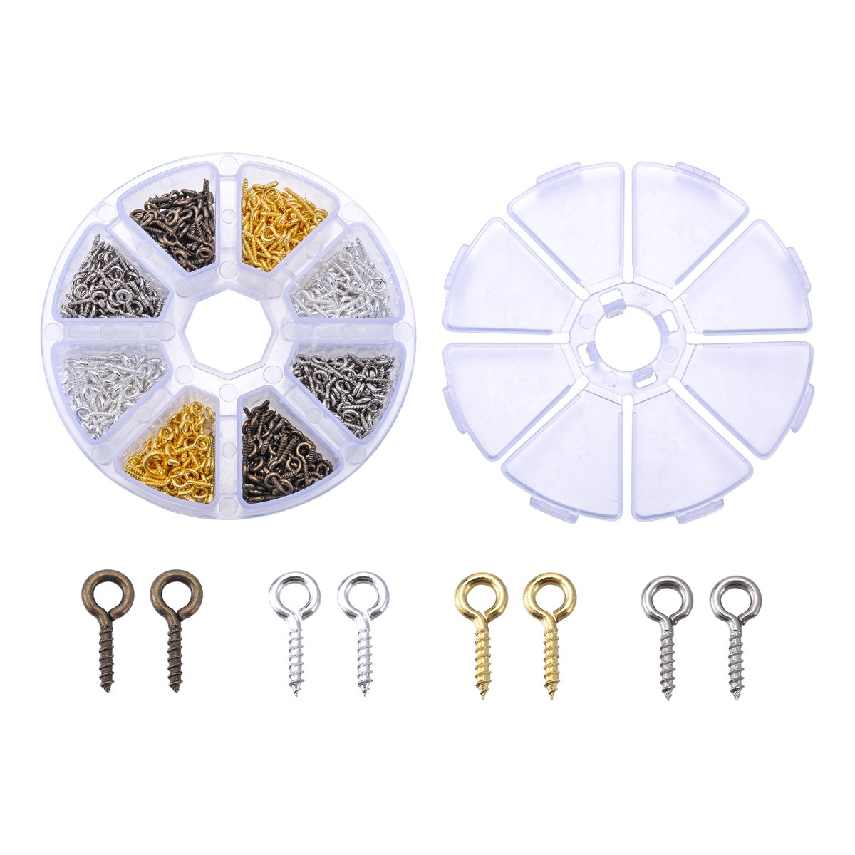 1Box 4 Colors Alloy Screw Eye Pin Bail Peg for Clay Jewelry 4mmx10mm Pack of 800pcs ValyriaUK SGto-B298942