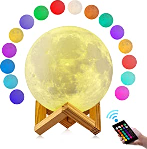 Moon Lamp, GDPETS 3D Printing 4.8 Inch 16 Colors Moon Light with Stand & Remote &Touch Control and USB Rechargeable Decorative Luna Lamp for Baby Kids Birthday Party Christmas Gifts (4.8 Inches)