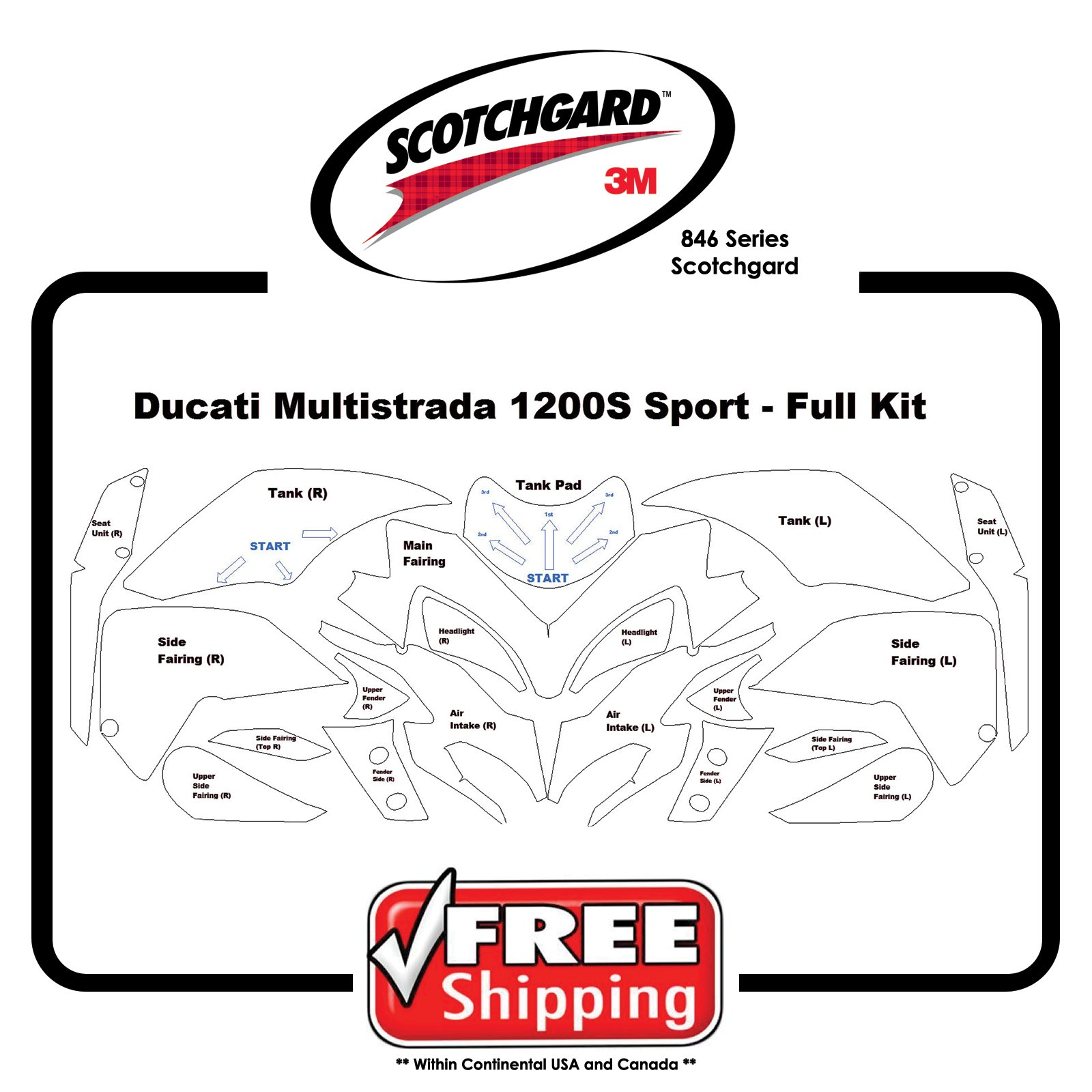 Kits for Ducati Multisrada 1200s Sport - 3M 846 Scotchgard- Paint Protection