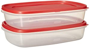 Rubbermaid 669900233019 Easy Find Lid Square 1.5-Gallon Food Storage Container, Red 2-Pack, 24 Cup, Clear