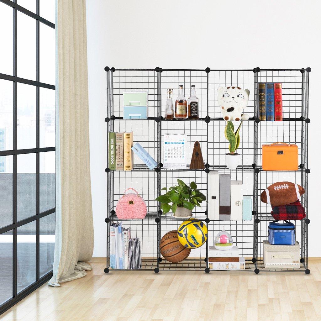 langria metal wire storage cubes modular shelving grids diy closet 712073186399 ebay. Black Bedroom Furniture Sets. Home Design Ideas