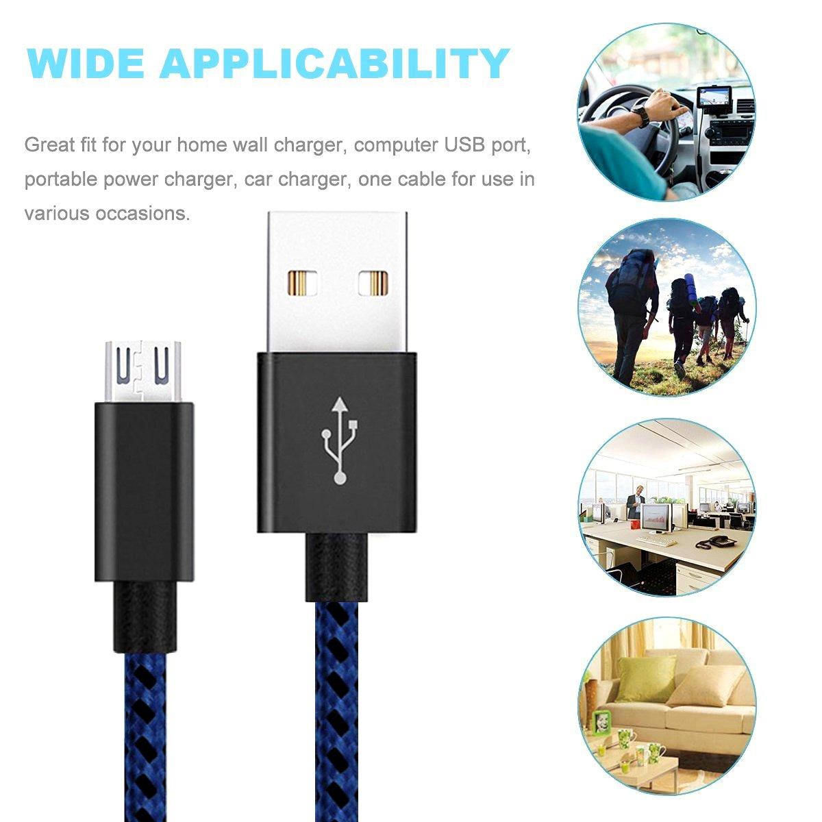 iRoundy Micro-USB-Kabel Android Geflochten Haarclip mit Nylon Woven USB Daten Sync Ladegerät