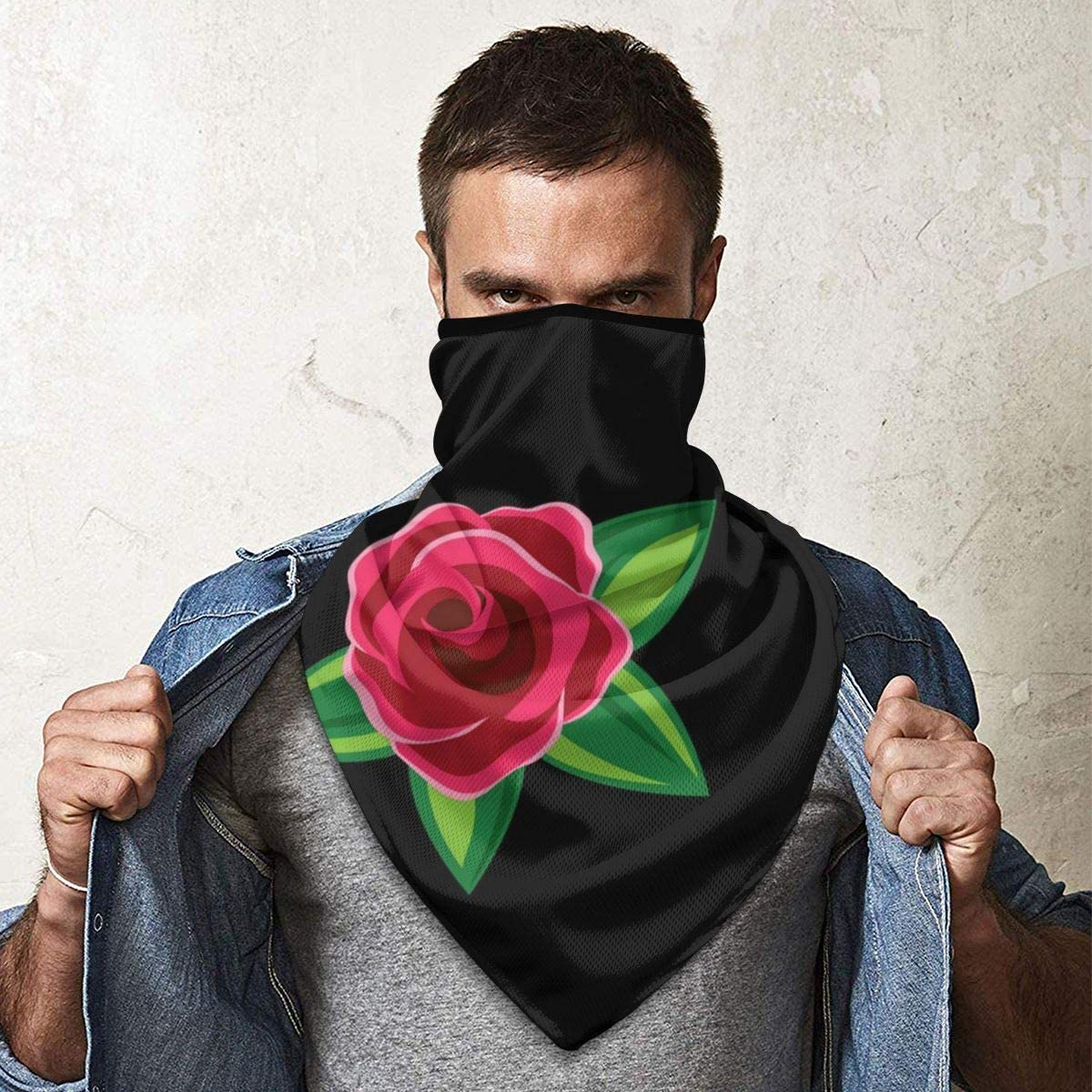 Simple Seamless Floral Roses Pattern Vector Image Neck Gaiter Dust Sun Protection Face Cover Balaclava Sports Headwear Works As Scarf Headband Bandana Face Mask