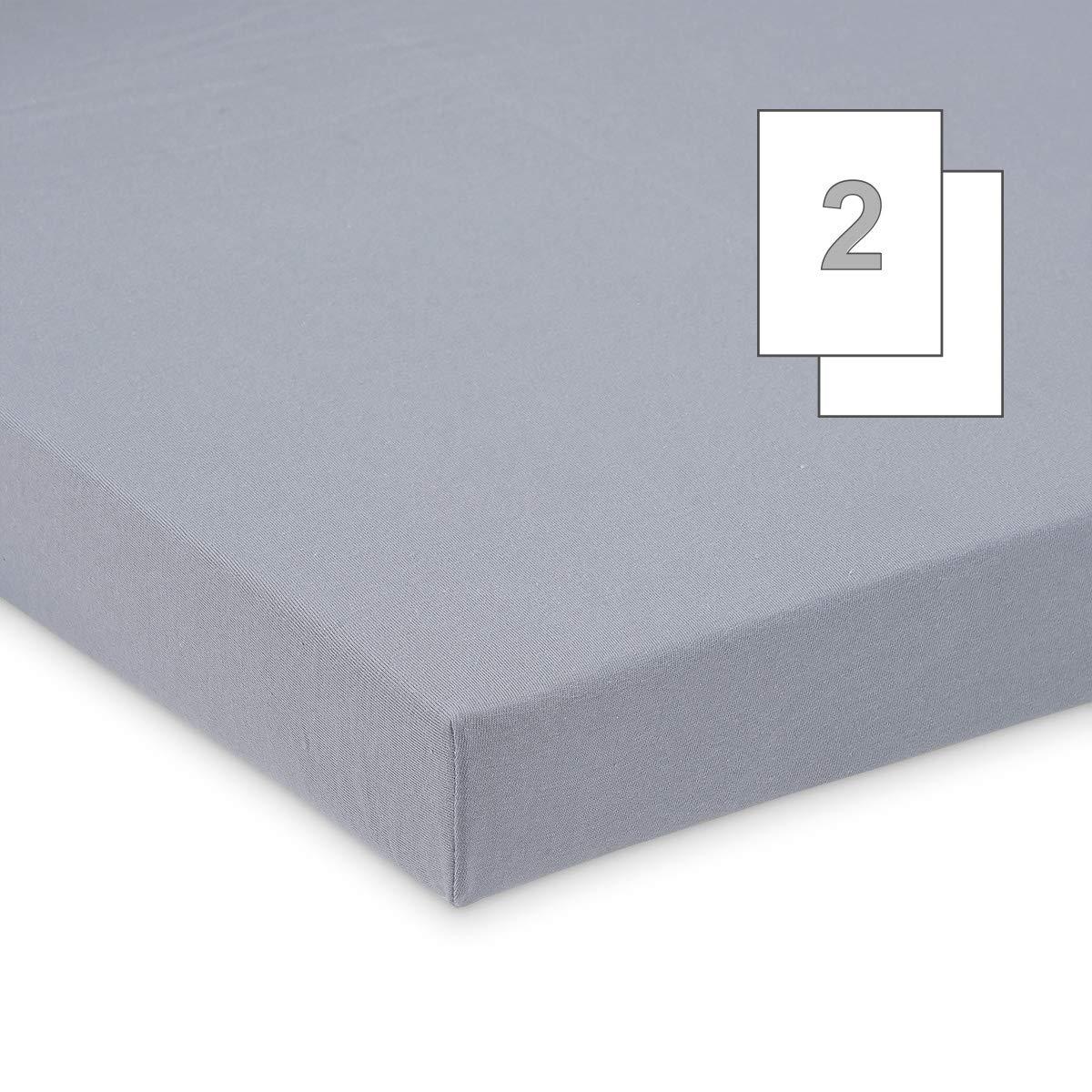 blau Doppelpack FabiMax 3578 Jersey Spannbettlaken f/ür Laufgitter 100x100 cm