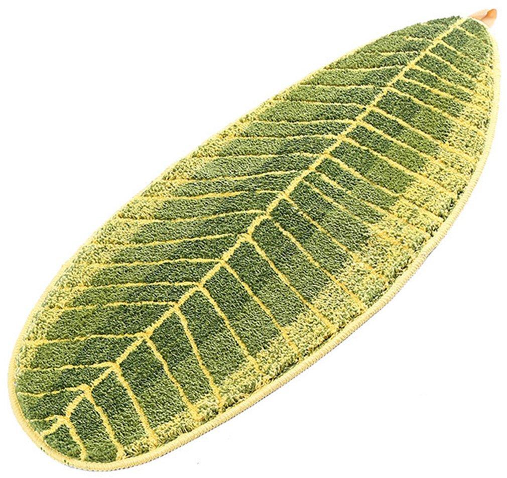 Lukis Antirutschmatte 70x140cm Schmutzfangmatte Anti Rutsch Fußmatte für Innen Waschbar Badematte in Blätter Form Grün