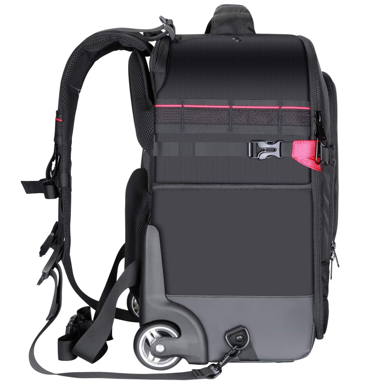 Neewer 2-in-1 Zaino da Viaggio con Ruote per Fotocamera Resistente Impermeabile per Fotocamera Treppiede Lente per Viaggio Aereo Trolley Imbottito Anti-Shock Tracolla e Cinturino Nascosti