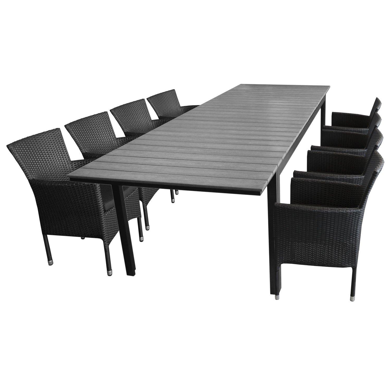 9tlg. Gartengarnitur Aluminium Polywood Ausziehtisch Gartentisch 280/220x95cm + 8x Stapelsessel Polyrattan - Sitzgarnitur Sitzgruppe Gartenmöbel