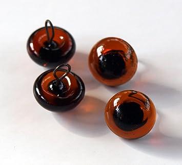 2 Paar Glasaugen 8 mm Draht Loop - Bernstein Dunkel: Amazon.de ...