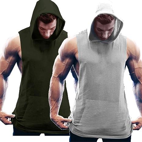 COOFANDY Chaleco para Hombre Fitness Sports Fitness Sports Hoodie Camisa Muscular Entrenamiento 2 Piezas: Amazon.es: Ropa y accesorios