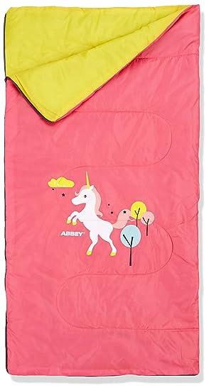 ABBEY Niños Junior Saco de Dormir, Color Rosa/Amarillo, tamaño Talla única,