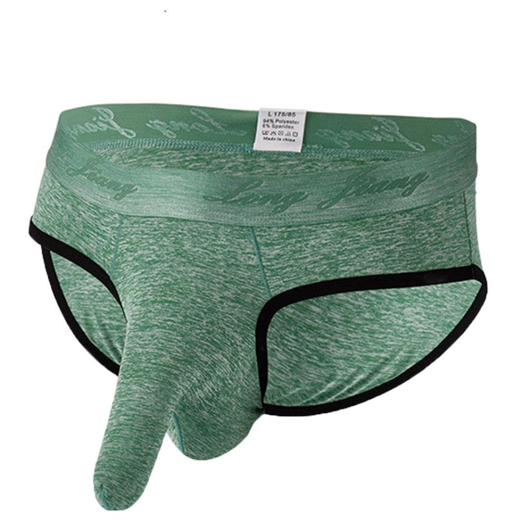 Gocheaper, Men's Soft Underwears Pouch Thongs G String Sexy Briefs Shorts Bikini Boys Pants (M, Green)