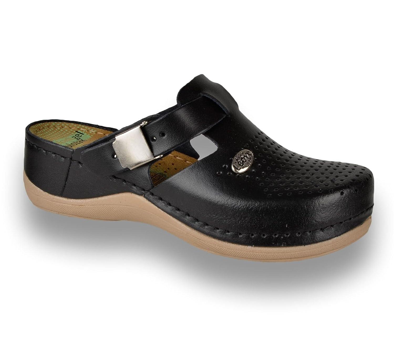 Leon 900 Sabots Mules Chaussons Chaussures en Cuir Femme Dames