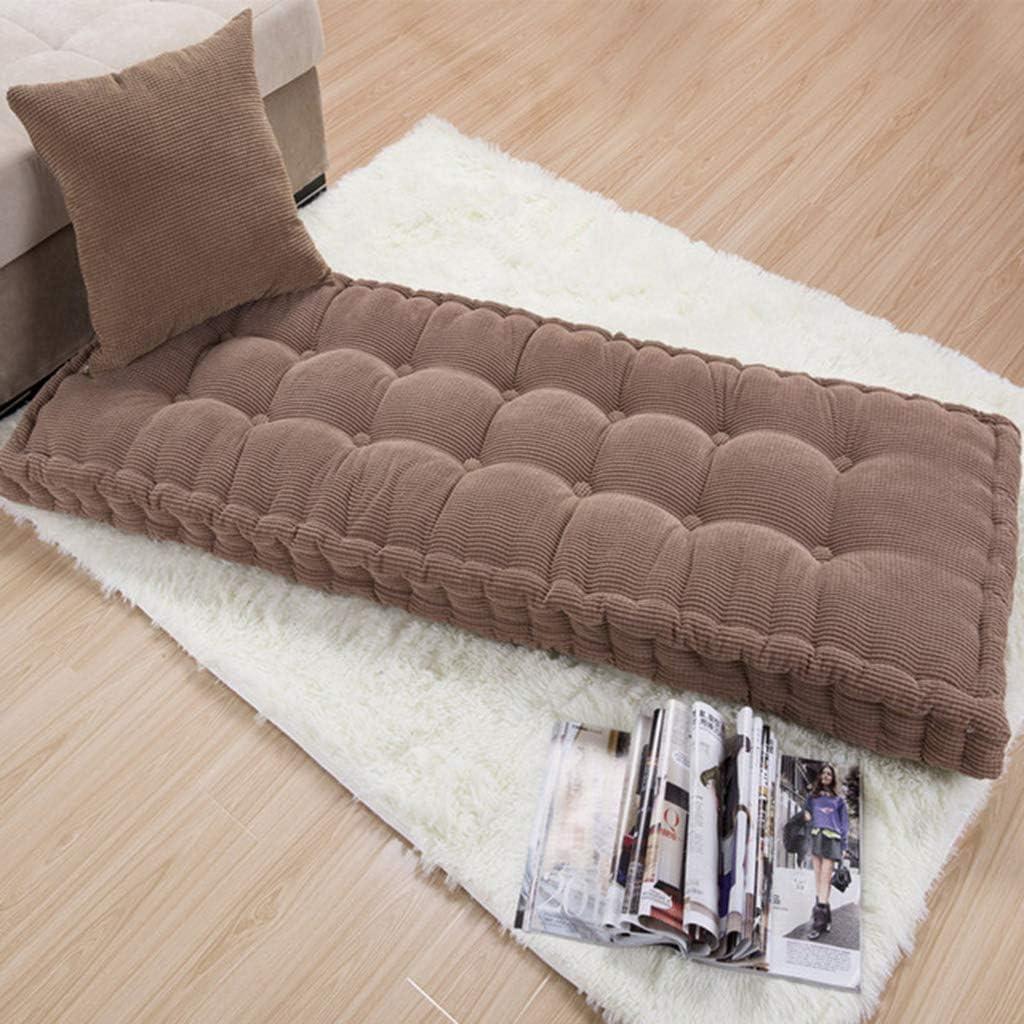 FCSFSF Cotton Sofa Mat Sofa Cushion,Soft Tatami Floor Mat,Outdoor Indoor Bench Cushion,Solid Color Corduroy Long Chair Cushion,Thickened Not-Slip Bay Window Pad-Coffee 55x165cm(22x65inch)
