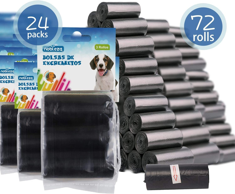 Nobleza - 1080 Conde Bolsas de Caca Perro Bolsas para excrementos de Perros Pack de 72 Rollos. Color Negro