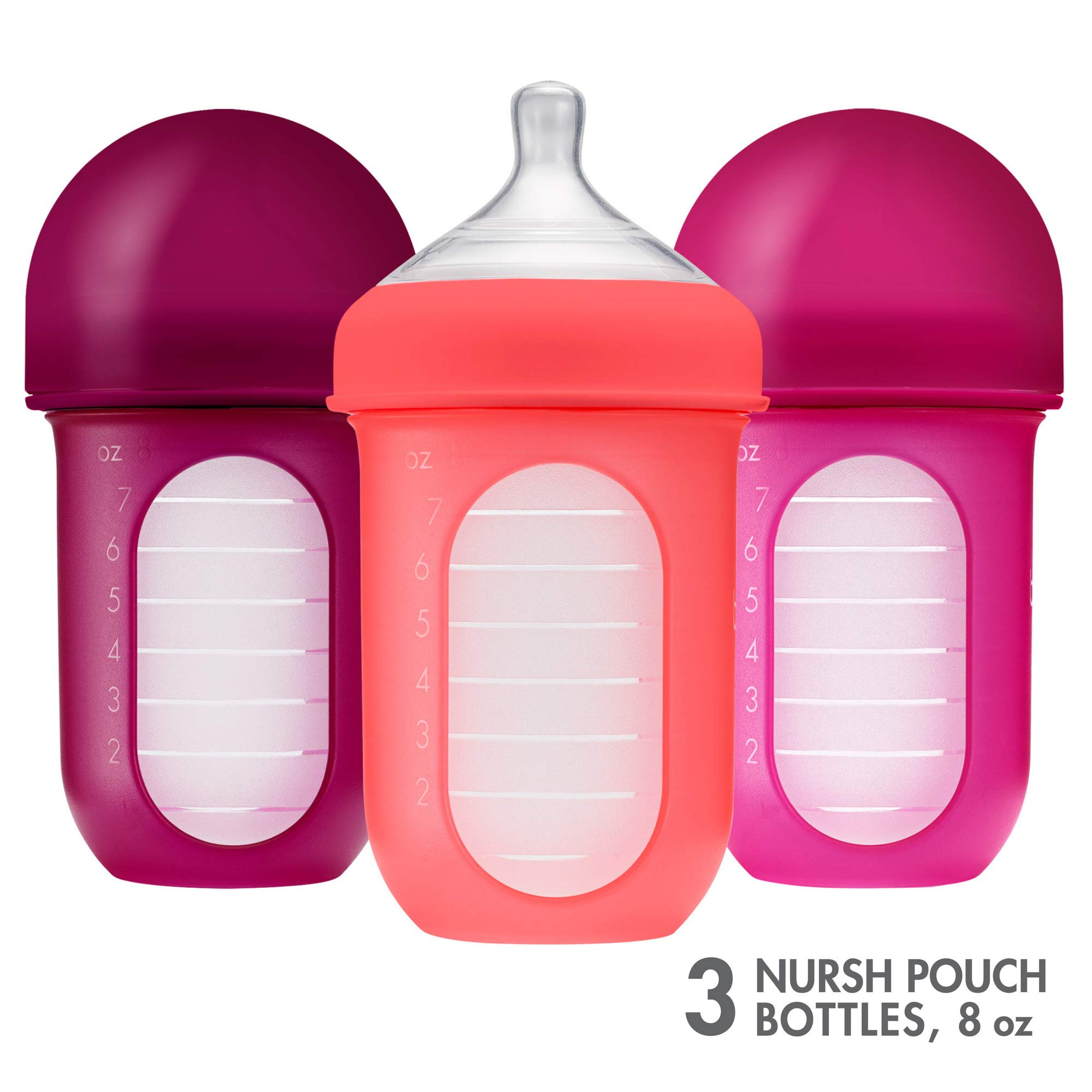 Boon, NURSH Reusable Silicone Pouch Bottle, Air-Free Feeding, 8 Ounce with Stage 2 Medium Flow Nipple (Pack of 3) by Boon