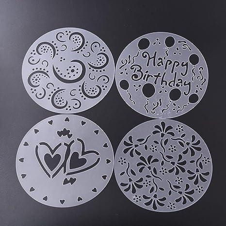 Kicode 4 Styles Fleur De Coeur Gâteau Pulvérisation Imprimer
