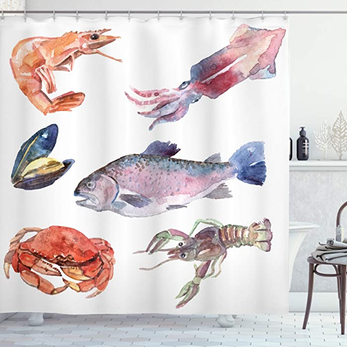 Ambesonne Sea Animals Shower Curtain, Sea Food Illustration with Shrimp Mussel Fish Crab Watercolor Painting Effect, Cloth Fabric Bathroom Decor Set with Hooks, 75