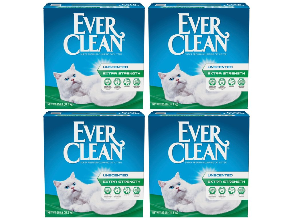 Ever Clean Extra Strength Cat Litter, 25lbs, Unscented (4-Pack)