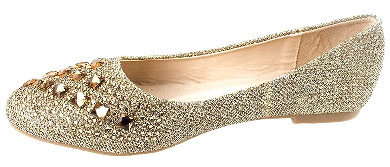 Amazon.com | Forever Link Women's Sparkle Bead Crystal Embellished Metallic  Dress Ballet Flat | Flats