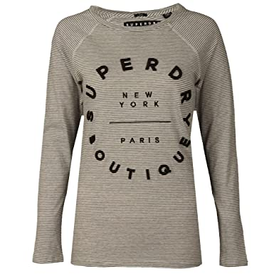 42da0f407e6693 Superdry Damen Langarmshirt Langarm Shirt Gestreift: Amazon.de ...