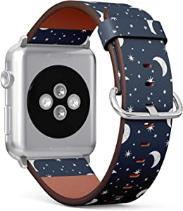 Compatible with Small Apple Watch 38mm & 40mm (Series 5, 4, 3, 2, 1) Leather Watch Wrist Band Strap Bracelet with Stainless Steel Clasp and Adapters (Moon Stars Night)