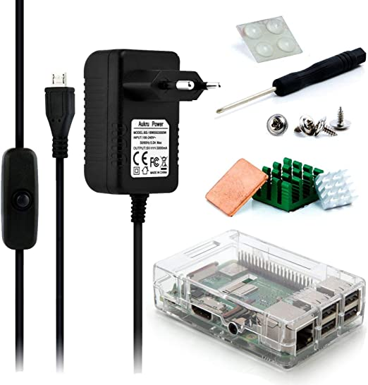 Aukru Micro USB 5V 3000mA Cargador con Interruptor +Transparente Caja + disipador de Calor para Raspberry Pi 3 Modelo B/B+: Amazon.es: Electrónica
