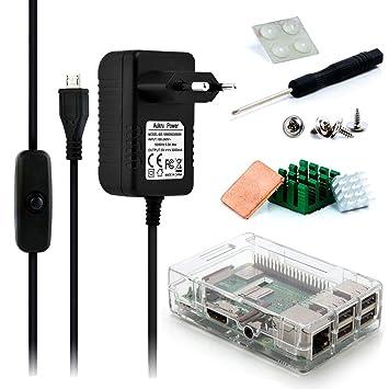 Aukru Micro USB 5V 3000mA Cargador con Interruptor +Transparente Caja + disipador de Calor para Raspberry Pi 3 Modelo B/B+