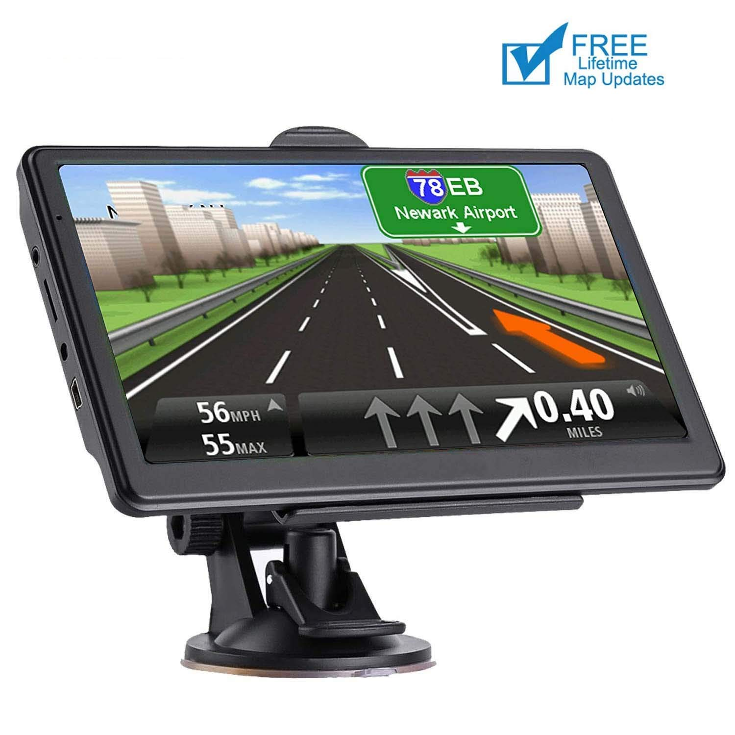 GPS Navigation for car 7 Inch HD Voice Broadcast Frontline Loading North America Map Contains (United States Canada Mexico Map) Lifetime Map Free Update by JANFUN