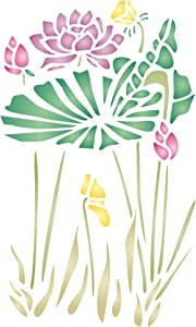 Water Plants Stencil, 6.5 x 10.5 inch (L) - Asian Oriental Chinese Japanese Waterlily Leaves Stencils for Painting Template