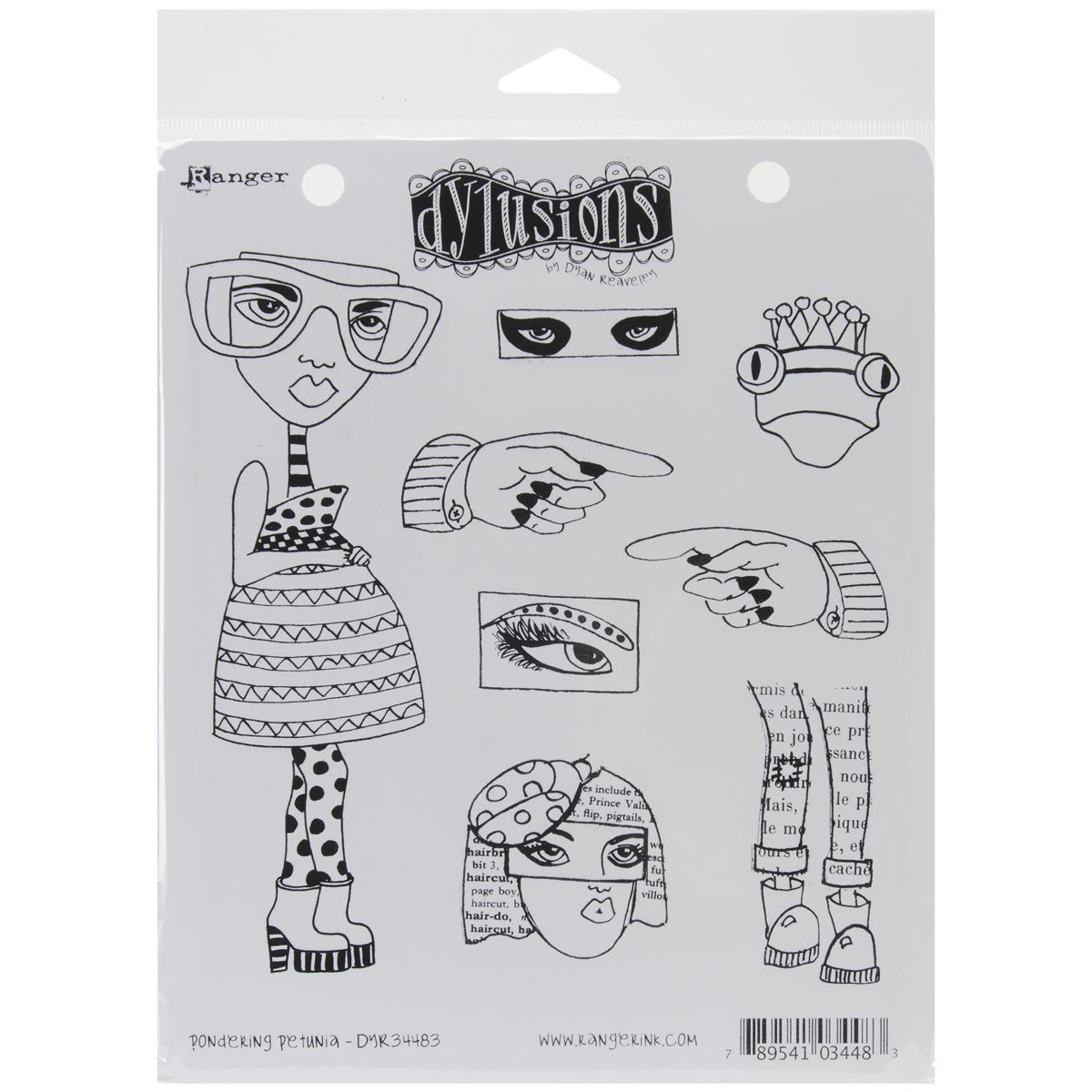 Ranger Dyan Reaveleys Dylusions Cling Stamp Collection Pondering Petunia (6 Pack)