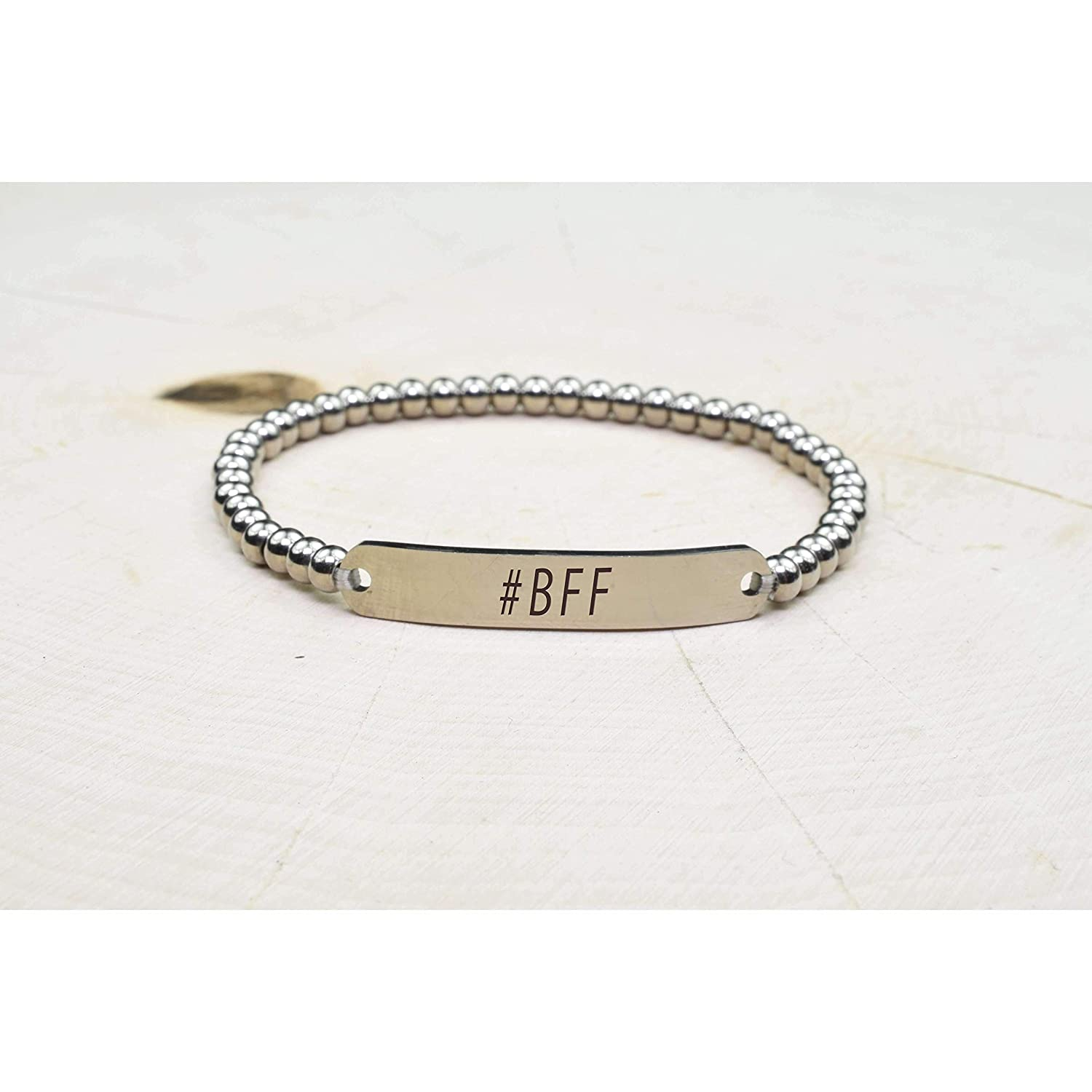 BFF Silver Pink Box Solid Stainless Steel Beaded Hashtag Bracelet