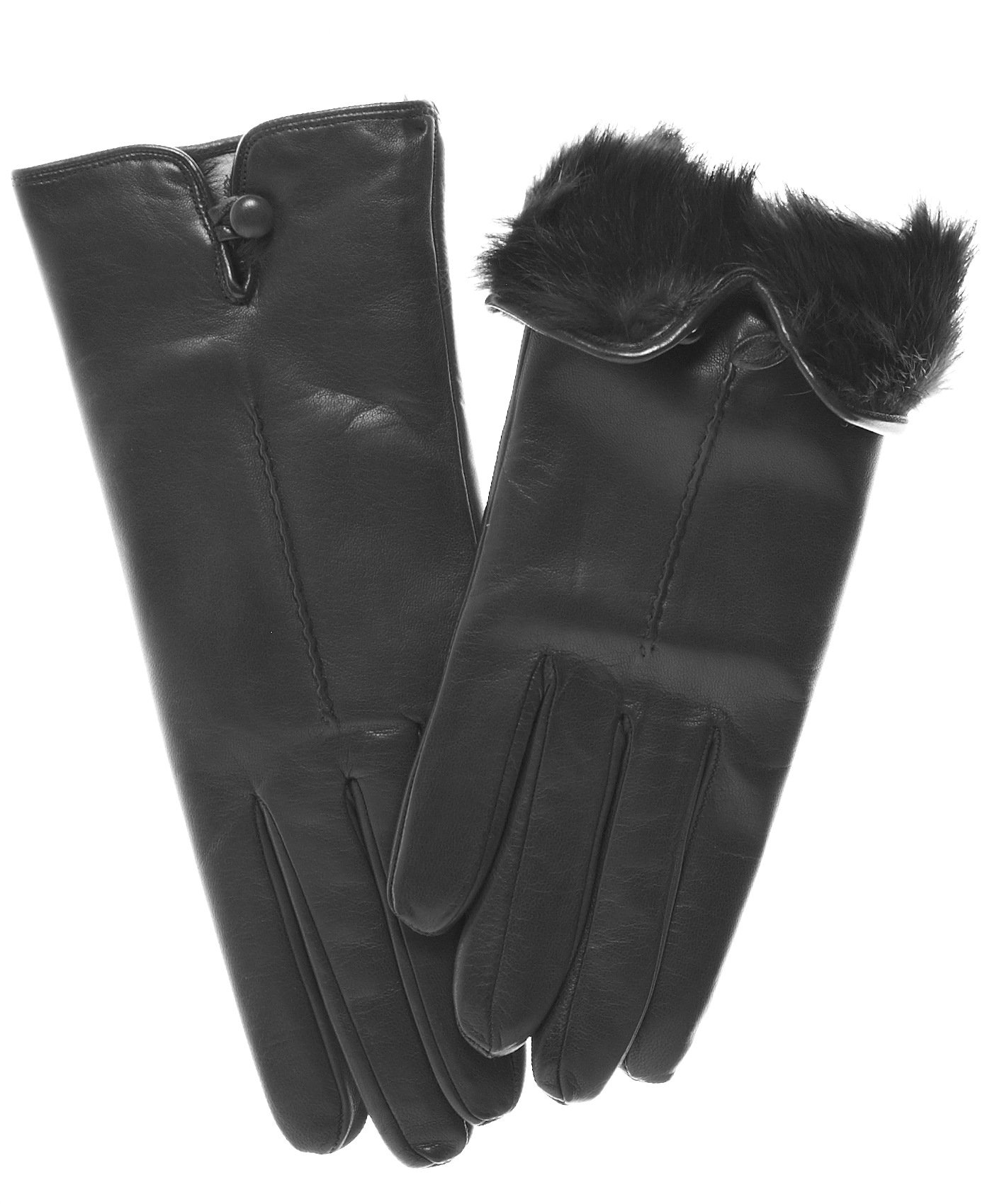 Fratelli Orsini Women's Italian Rabbit Fur Lined Gloves with Button Size 6 Color Black