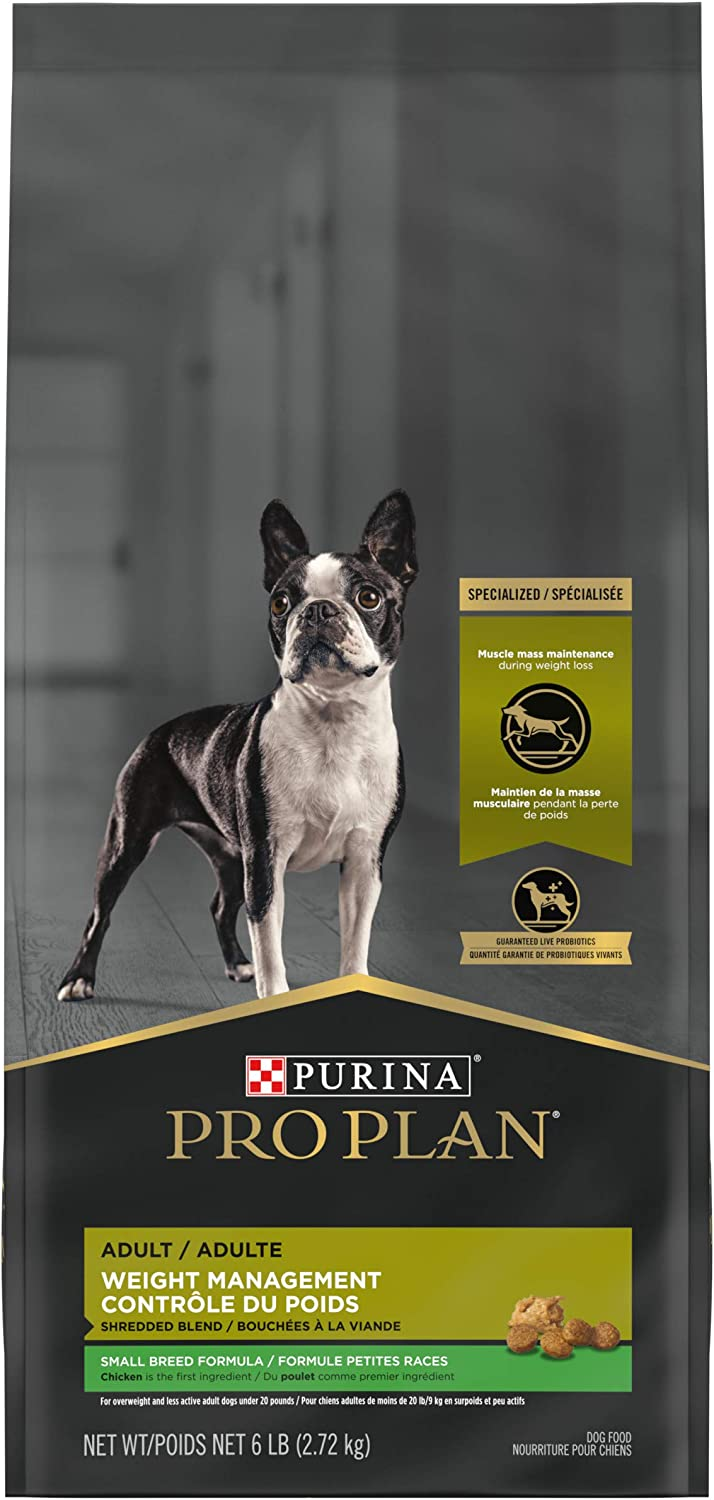 Purina Pro Plan with Probiotics Small Breed Dry Dog Food, Specialized Weight Management Shredded Blend - 6 lb. Bag